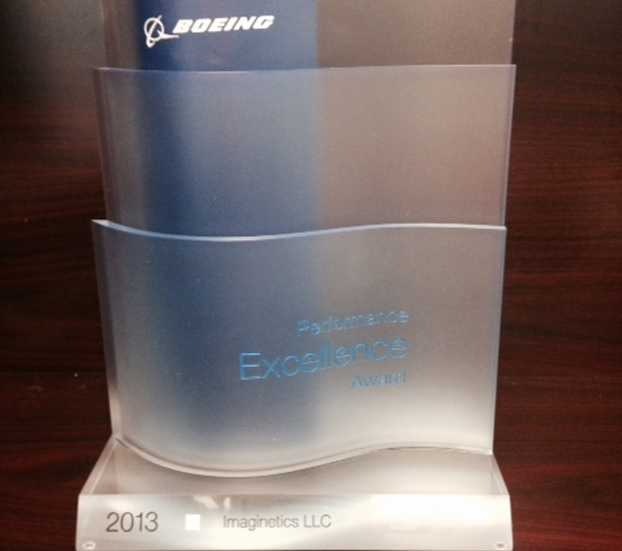Boeing congratulates Imaginetics for superior supplier performance